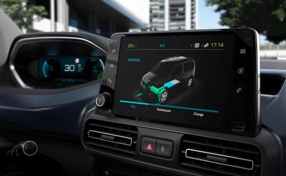 Nouveau PEUGEOT e-RIFTER – Ecran tactile avec affichage des  flux électriques